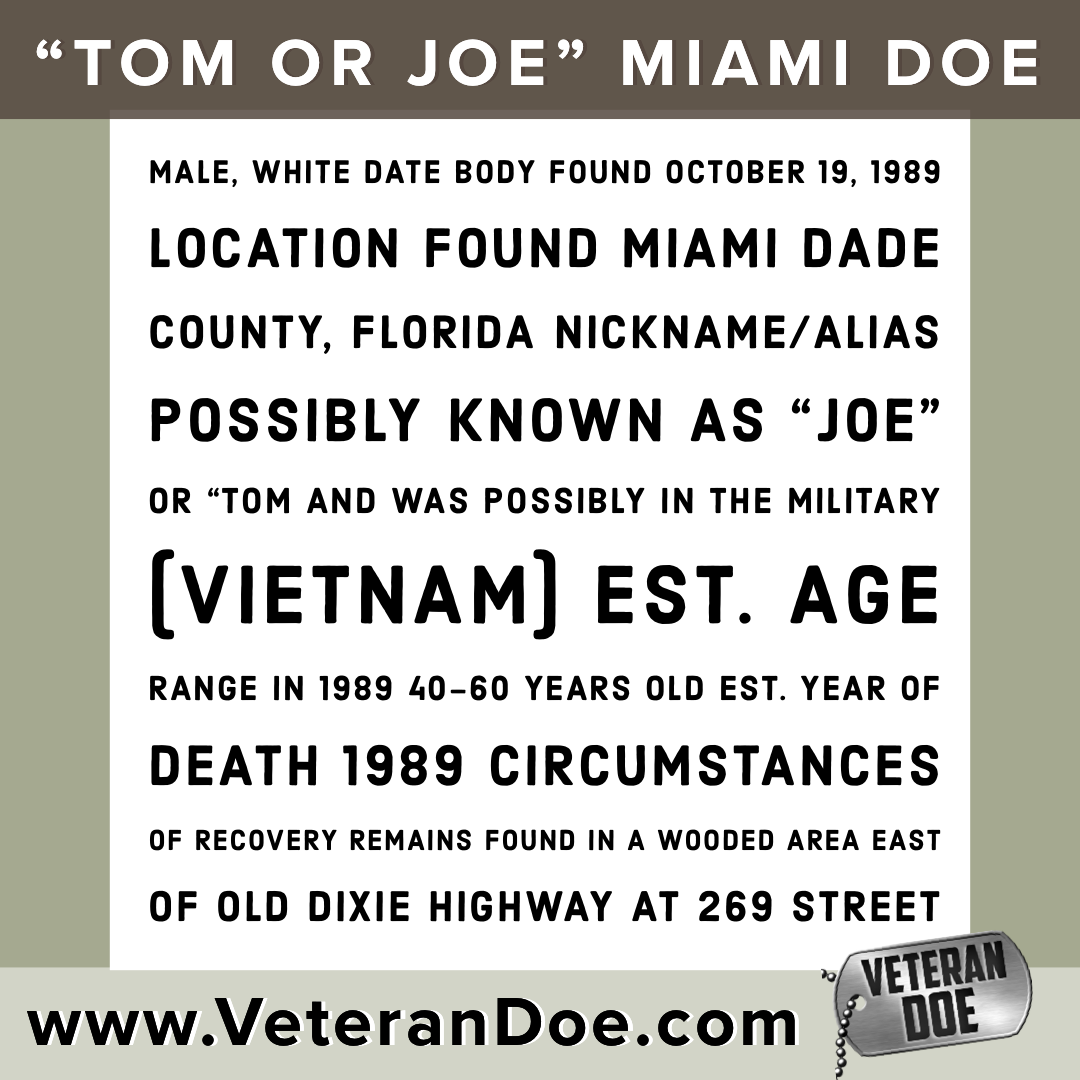 unidentified missing person Joe or Tom Vietnam Veteran