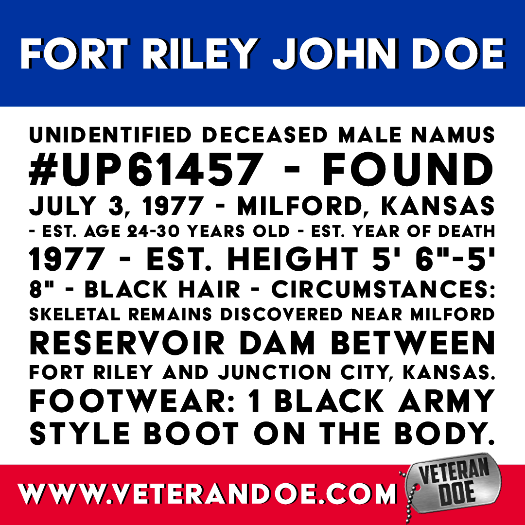 missing person unidentified body Fort Riley Kansas US Army