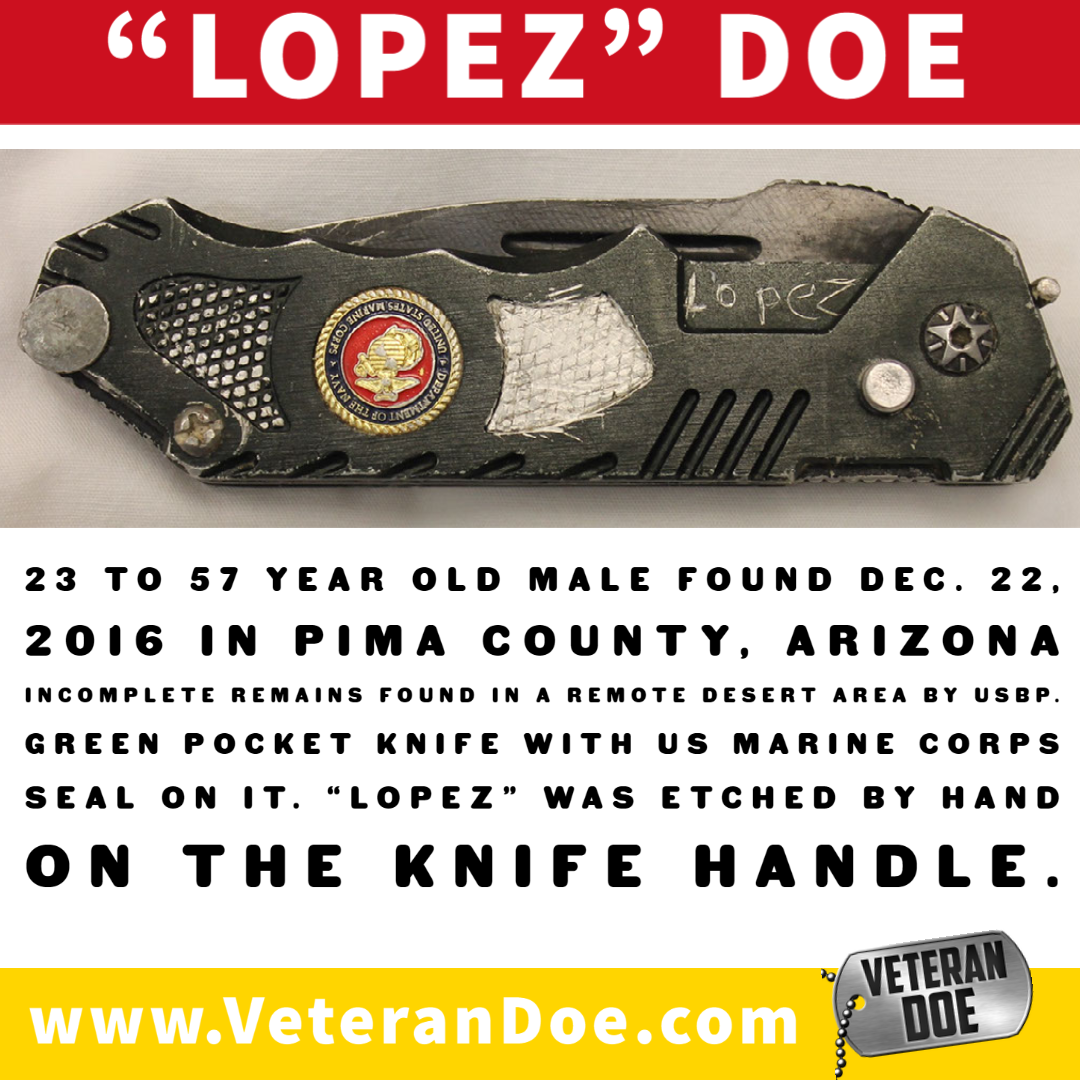 unidentified missing person border crossing Lopez USMC knife
