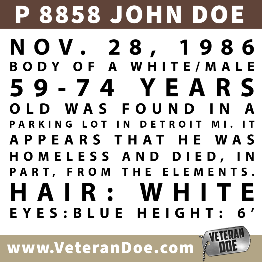 missing person michigan detroit homeless 1986