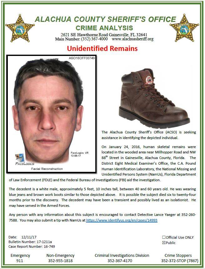 Unidentified Person Florida Possible Homeless Veteran