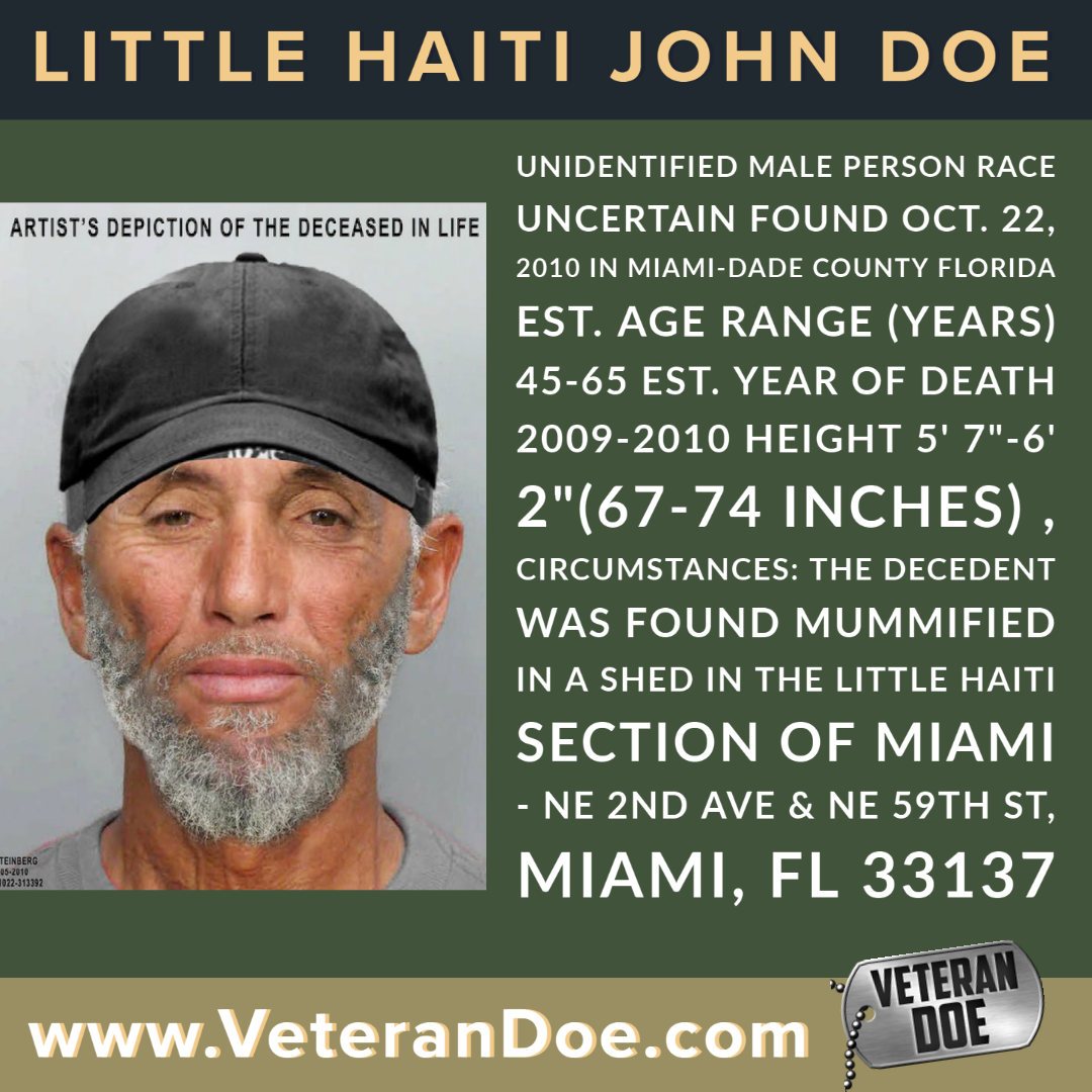 unidentified missing person Florida miami little haiti Vietnam veteran