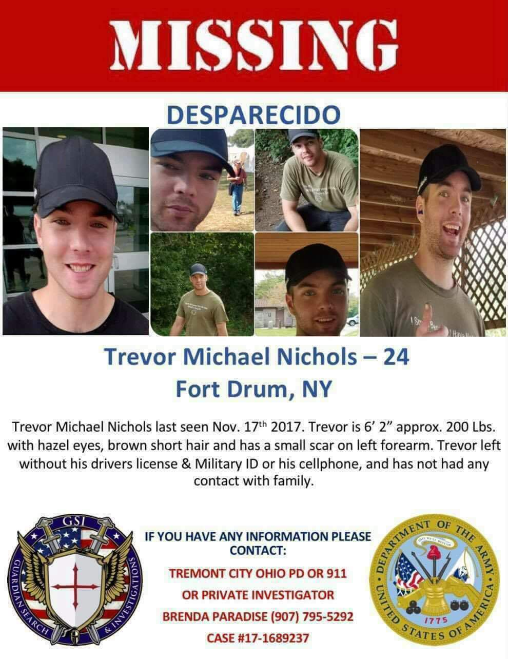 missing person flyer NY Trevor Nichols  US Army