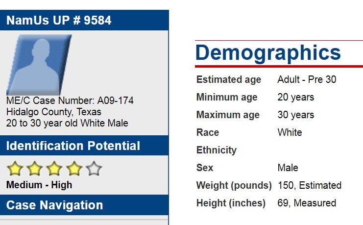Unidentified person case Texas